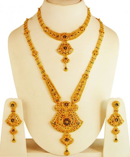 Gold Necklace And Earrings Set 22kt Indian Jewelry With: 22Kt Gold Bridal Necklace Set
