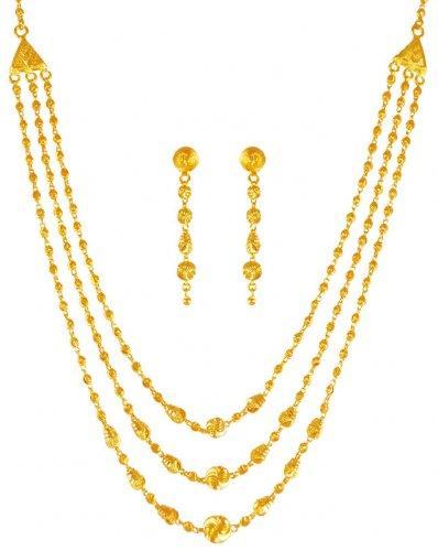 8dd10562511c5 22K Gold Layered Necklace Set - AjNs63284 - US$ 1,888 - 22K Gold ...