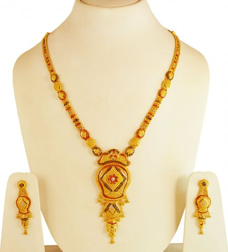 22k Tricolored Bridal Designer Set Ajns61682 22k Gold Fancy Necklace And Earrings Set Is Handcrafted With Filigree Work Center Pendant Is Teemed