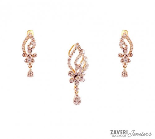 Delicate 18k Diamond Pendant Set