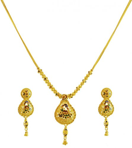 22k fancy indian necklace set ajns59976 22k gold hand fancy 22k fancy indian necklace set aloadofball Images
