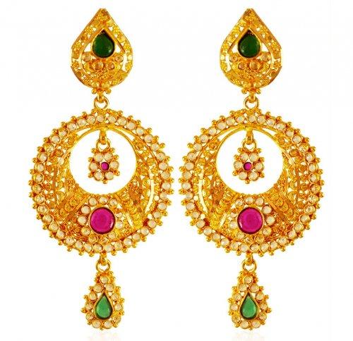 22 karat gold earrings ajer63721 22k gold chaand bali. Black Bedroom Furniture Sets. Home Design Ideas
