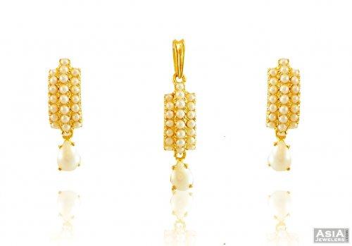 Royal pearls gold pendant set ajps58071 22k gold exclusive and royal pearls gold pendant set aloadofball Images