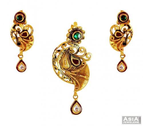 22k gold antique pendant set ajps59032 22k gold pendant and 22k gold antique pendant set aloadofball Images
