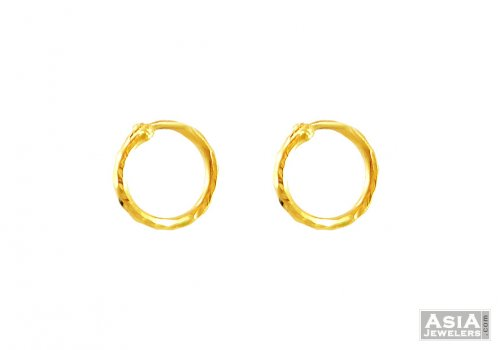Plain Small Gold Hoops 22k AjEr 22Kt Gold Indian Hoop