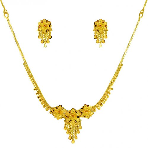 22k gold necklace and earrings set ajns61720 us 1 078