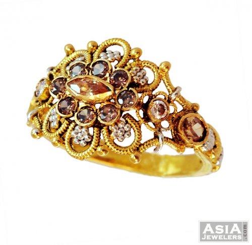 22K Fancy Antique Ring AjRi 22k gold la s designer ring