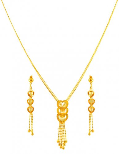 Fancy Gold Necklace Set Ajns59957 22k Gold Necklace And Earring Set Entire Set Is Designed In A Fancy Style With Heart Shape And Hang