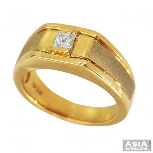Fancy Yellow Gold Diamond Ring 18K AjDr55741 18k gold mens