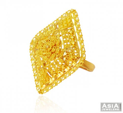 22K Beautiful Filigree Ring AjRi 22K Gold La s Ring