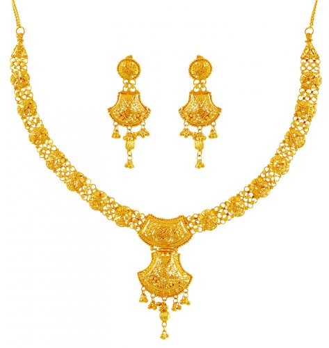 22K Gold Filigree Necklace Set AjNs Beautiful Indian