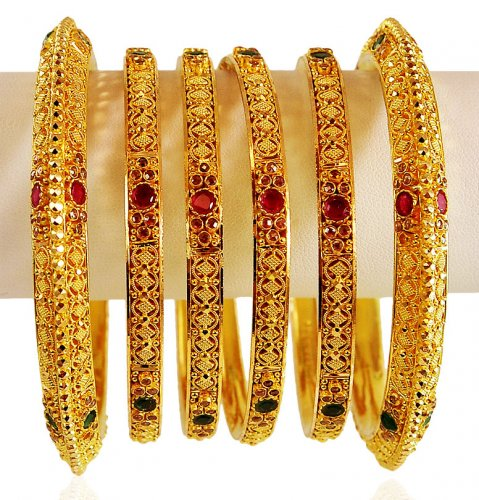 22 Karat Gold Bangles Set Asba62598 22k Gold 6 Pc