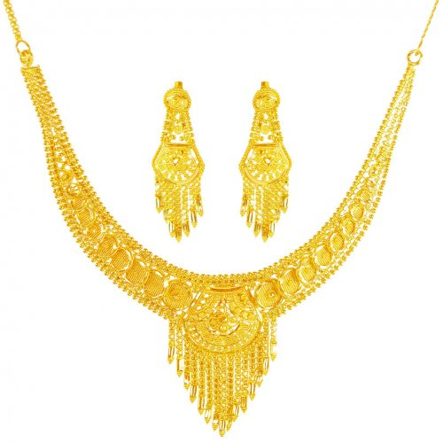 22 Karat Gold Necklace Set Ajns62060 22k Gold Indian Design