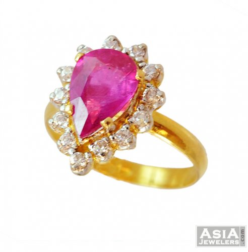 22K Signity with Colored Stone Ring ajri US$ 364 22k