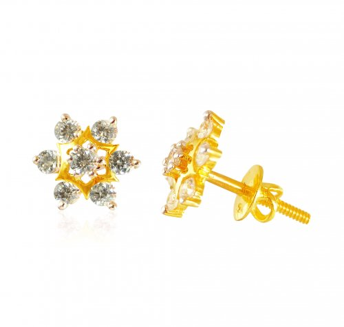 846be931d 22k Gold floral shaped Tops - AjEr63319 - 22K Gold Earrings/ Tops is ...