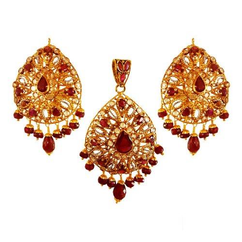 22k gold ruby pendant set ajps63784 22k gold ruby pendant set is 22k gold ruby pendant set aloadofball Images