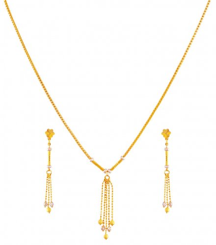 Fancy Light Weight Necklace Set 22K