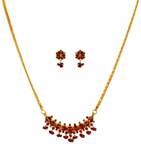 Gold Necklace And Earrings Set 22kt Indian Jewelry With: 22Kt Gold Ruby Necklace Set