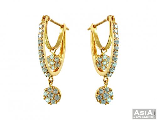 Studded Double Hoop Earring 22k ajer 22Kt Gold Earrings
