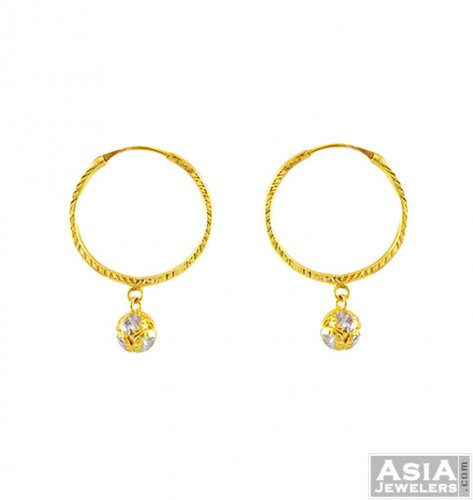 22Kt Indian Gold Hoops AjEr 22Kt Gold Indian Hoop Earring