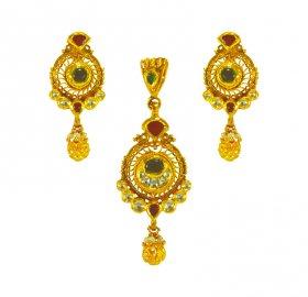 Antique pendant sets antique finished 22k gold pendants earring 22k gold antique pendant set aloadofball Image collections