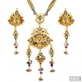 Antique pendant sets antique finished 22k gold pendants earring 22k antique kundan pendant set antique pendant sets aloadofball Image collections